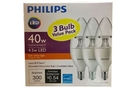 Buy Philips LED 4.5w Soft White Light (Dimmable Decorative Bulb with Candelabra Base 300 lumens /3-ct)