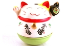 Buy Maneki-Neko (Smiling Lucky Fortune Cat with Green Based Figurine) - 10cm high