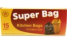 Kitchen Trash Bags (13 Gallon Size) - 15/pack [ 6 units]