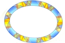 Melamine Oval Plate (Blue with Yellow Stripes Motive)