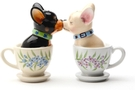 Magnetic Salt and Pepper Shaker Set (Tea Cup Pups) - 4 inch
