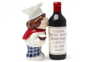 Buy Magnetic Salt and Pepper Shaker Set (Wine and Chef) - 4 inch