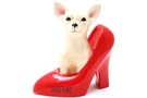 Buy Ceramic Chihuhua and Red Shoe Saving Bank (Shoe Fund Bank) - 6 1/2 inch