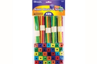 Colored Wood Blocks & Stick (135/Pack)