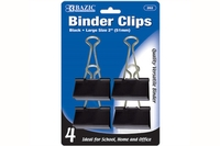 Large 2 inch (51mm) Black Binder Clip (4/Pack)
