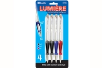 BAZIC Lumiere Asst. Color Retractable Pen w/ Grip (4/Pack)