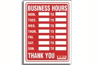 Business Hours Sign (9 inch X 12 inch)