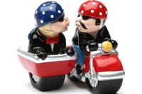 Magnetic Salt and Pepper Shaker Set (Motorcycle Side Car) - 4 inch