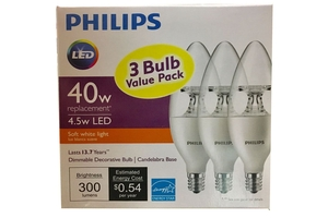 LED 4.5w Soft White Light (Dimmable Decorative Bulb with Candelabra Base 300 lumens /3-ct)