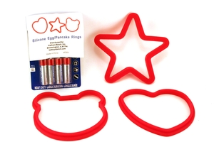 Silicone Egg/Pancake Rings (Star, Hearth and Face) - Set of 3