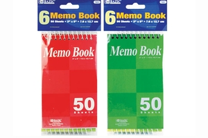 Top Bound Spiral Memo Books (6/Pack) - 50 Ct. 3 inch X 5 inch