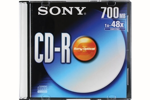 SONY 80 Min/700 MB 48x Recordable CD-R with Slim Jewel Case