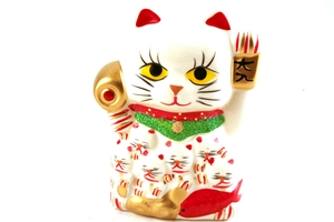 Maneki-Neko (Lucky Fortune Cat with Red Fish Figurine) - 10cm high
