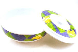 Melamine Bowl with Lid (Purple, Green, and Yellow Motive)