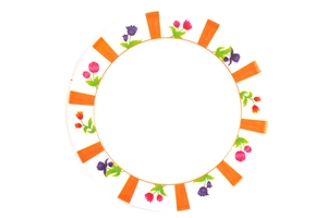 Melamine Dinner Plate (Colorful Flowers Motives)