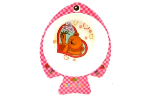 Melamine Fish-Shaped Childrens Bowl (Pink Bear)