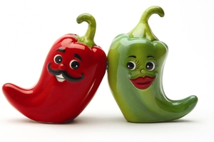 Magnetic Salt and Pepper Shaker Set (Hot Chili Peppers) - 4 inch