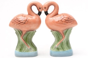 Magnetic Salt and Pepper Shaker Set (Flamingos) - 4 inch