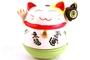 Buy JPC Maneki-Neko (Smiling Lucky Fortune Cat with Green Based Figurine) - 10cm high